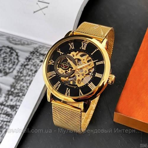 Оригинальные женские наручные часы стальной ремешок  Forsining 1040 Gold-Black (Видеообзор краткий)