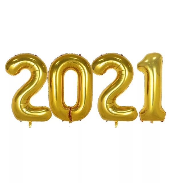 """Набір куль з чотирьох цифр """"2019"""". золото 80 см"""