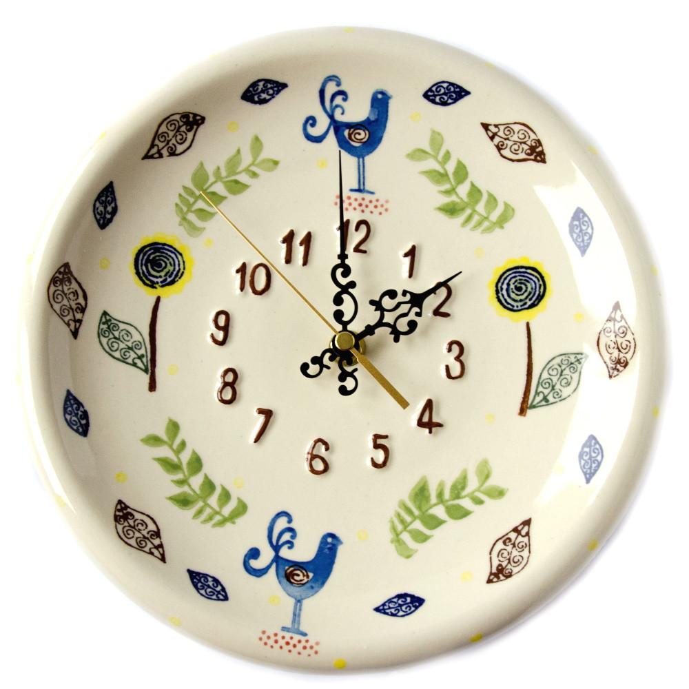 Часы настенные керамические 24 Райские птицы