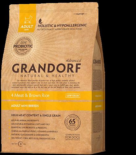 Сухий корм Grandorf Living Probiotics 4 Meat & Brown Mini для собак малих порід 4 м'яса з пробіотиками 3 кг