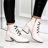 Эффектные светлые бежевые женские ботинки ботильоны на удобном каблуке, фото 4