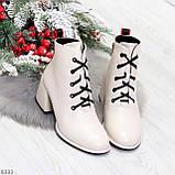Эффектные светлые бежевые женские ботинки ботильоны на удобном каблуке, фото 5