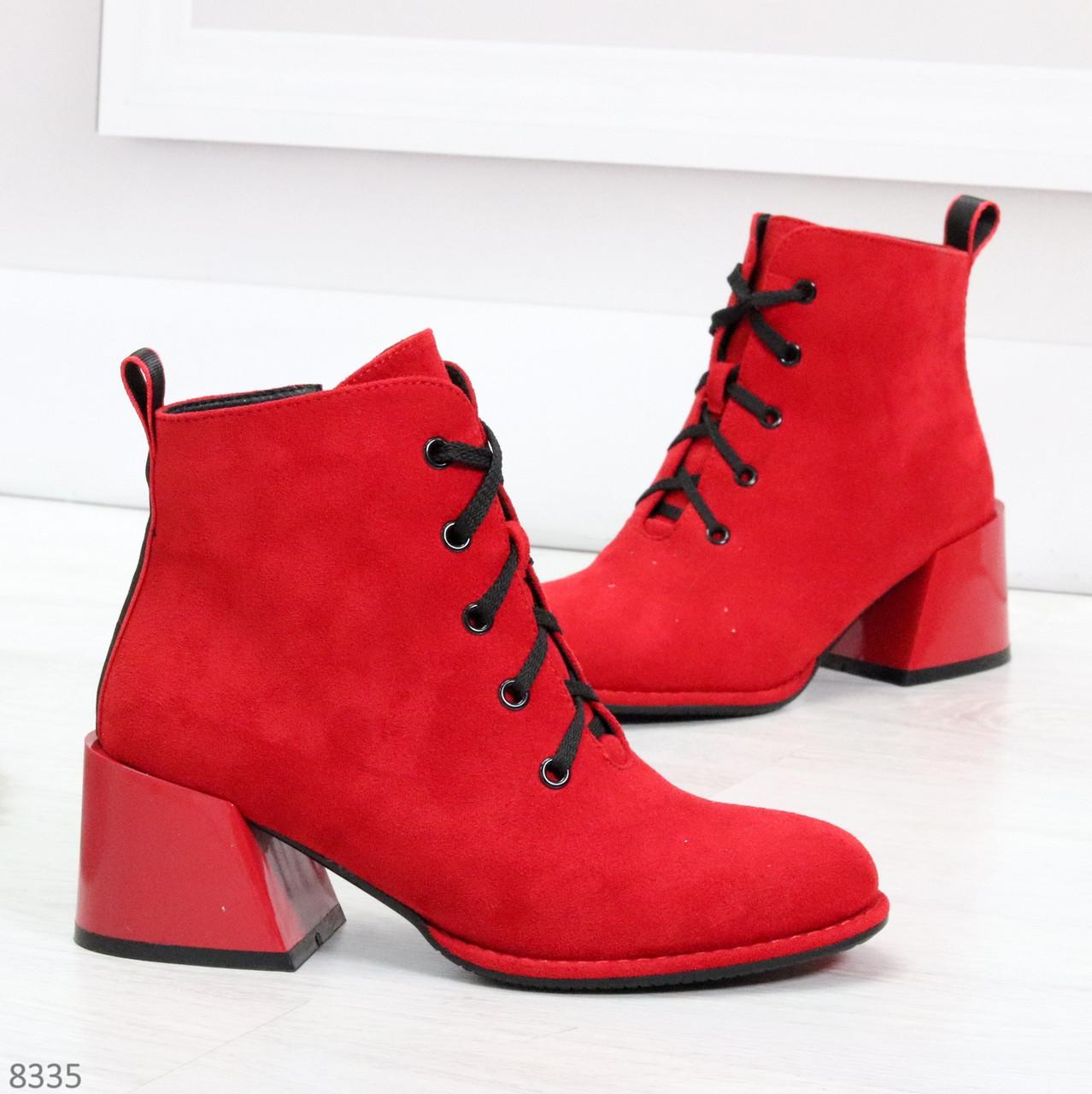 Эффектные красные замшевые женские ботинки ботильоны на удобном каблуке