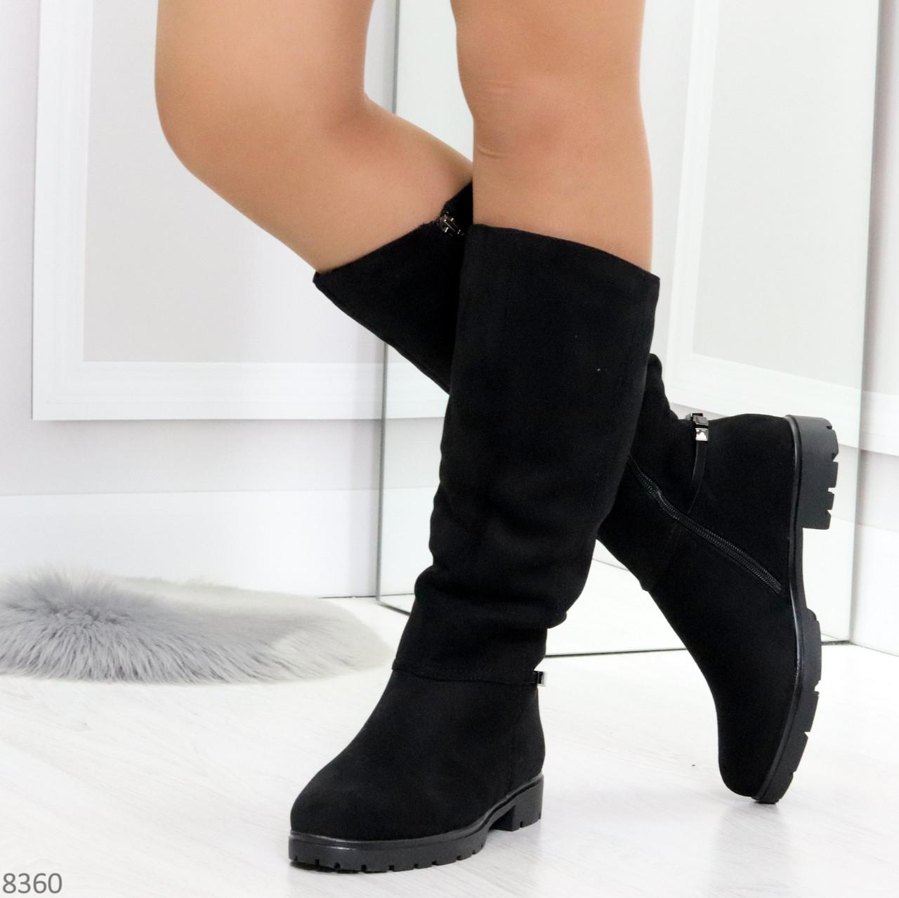 Удобные черные замшевые женские зимние сапоги утеплитель шерсть 36-23,5см