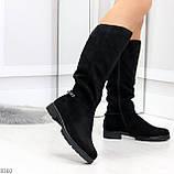 Удобные черные замшевые женские зимние сапоги утеплитель шерсть 36-23,5см, фото 3