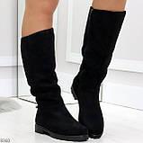 Удобные черные замшевые женские зимние сапоги утеплитель шерсть 36-23,5см, фото 4