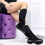 Удобные черные замшевые женские зимние сапоги утеплитель шерсть 36-23,5см, фото 5