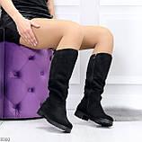 Удобные черные замшевые женские зимние сапоги утеплитель шерсть 36-23,5см, фото 6