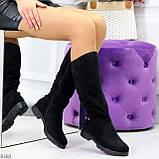 Удобные черные замшевые женские зимние сапоги утеплитель шерсть 36-23,5см, фото 7