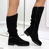 Удобные черные замшевые женские зимние сапоги утеплитель шерсть 36-23,5см, фото 8