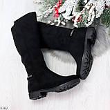 Удобные черные замшевые женские зимние сапоги утеплитель шерсть 36-23,5см, фото 10