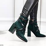 Элегантные нарядные темно зеленые изумрудные замшевые женские ботинки, фото 3