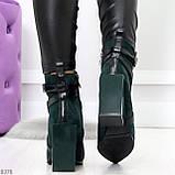 Элегантные нарядные темно зеленые изумрудные замшевые женские ботинки, фото 4