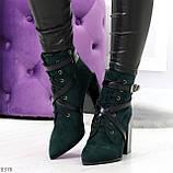 Элегантные нарядные темно зеленые изумрудные замшевые женские ботинки, фото 6