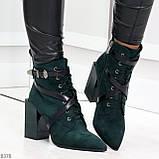 Элегантные нарядные темно зеленые изумрудные замшевые женские ботинки, фото 7