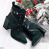 Элегантные нарядные темно зеленые изумрудные замшевые женские ботинки, фото 9