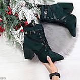 Элегантные нарядные темно зеленые изумрудные замшевые женские ботинки, фото 10