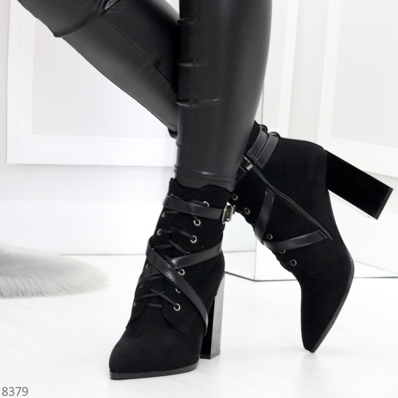 Элегантные нарядные черные замшевые женские зимние ботинки на высоком каблуке