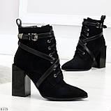 Элегантные нарядные черные замшевые женские зимние ботинки на высоком каблуке, фото 2