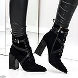 Элегантные нарядные черные замшевые женские зимние ботинки на высоком каблуке, фото 6