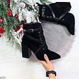 Элегантные нарядные черные замшевые женские зимние ботинки на высоком каблуке, фото 9