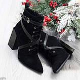 Элегантные нарядные черные замшевые женские зимние ботинки на высоком каблуке, фото 10