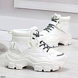 Повседневные белые полу спортивные зимние женские ботинки на шнуровке 39-25 см, фото 2