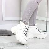 Повседневные белые полу спортивные зимние женские ботинки на шнуровке 39-25 см, фото 4
