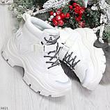 Повседневные белые полу спортивные зимние женские ботинки на шнуровке 39-25 см, фото 6