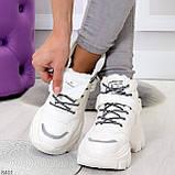 Повседневные белые полу спортивные зимние женские ботинки на шнуровке 39-25 см, фото 7