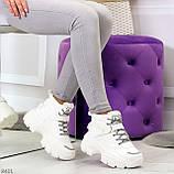 Повседневные белые полу спортивные зимние женские ботинки на шнуровке 39-25 см, фото 8