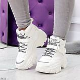 Повседневные белые полу спортивные зимние женские ботинки на шнуровке 39-25 см, фото 10