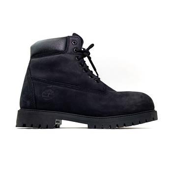 Мужские зимние ботинки Timberland Black (Тимберленд)с натуральным мехом