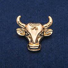 Брошь Голова Быка золотистый металл 34х35мм