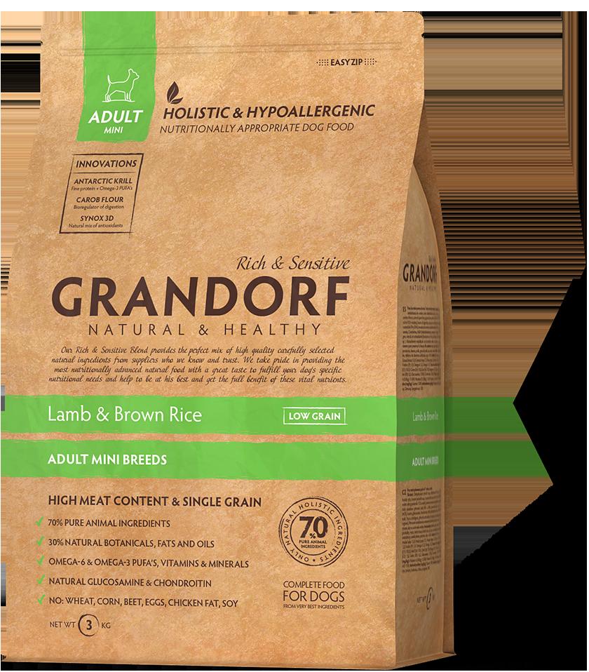 Сухой корм Grandorf Lamb & Rice Mini для взрослых собак малых пород с ягненком и рисом 3 кг