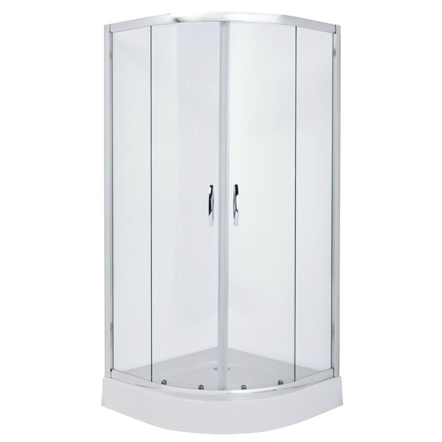 FIESTA душевая кабина 90*90*200см на мелком поддоне, профиль хром, стекло прозрачное