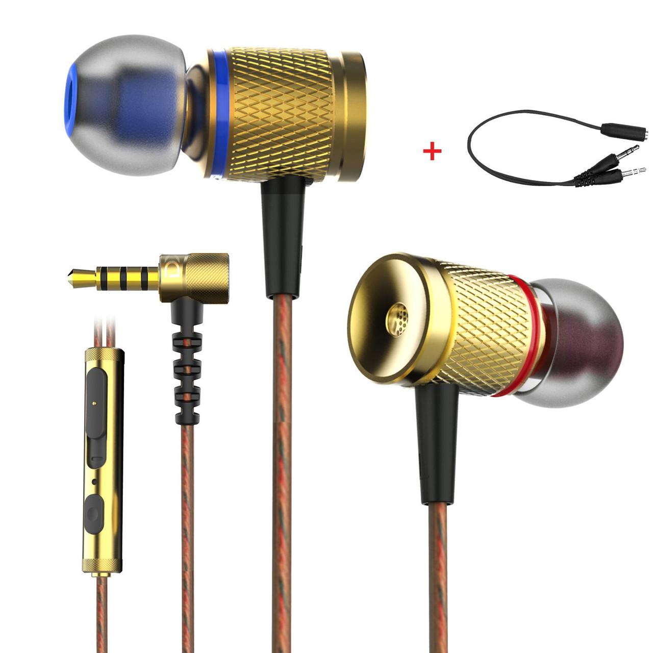 Дротові динамічні стерео навушники ігрова гарнітура з мікрофоном Plextone Bass Head DX2 Gold + аудіо