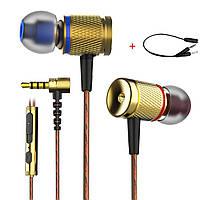 Проводные динамические стерео наушники игровая гарнитура с микрофоном  Plextone Bass Head DX2 Gold + аудио, фото 1