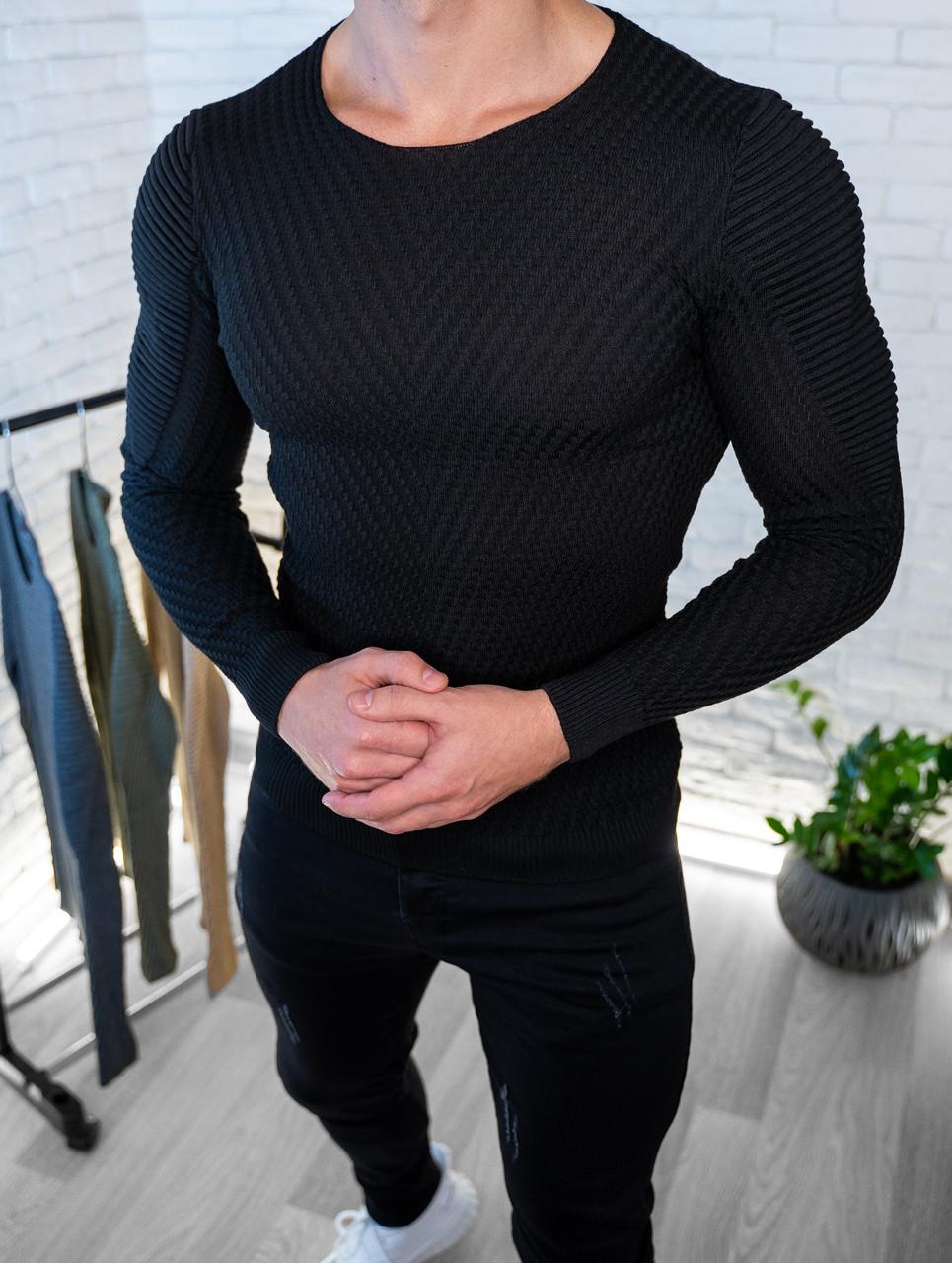 Мужской свитер Черный приталенный / Турция Черный, M