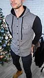 Мужская кофта на пуговицах с капюшоном серая/ 3 цвета в наличии, фото 2