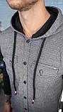 Мужская кофта на пуговицах с капюшоном серая/ 3 цвета в наличии, фото 3