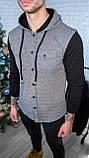 Мужская кофта на пуговицах с капюшоном серая/ 3 цвета в наличии, фото 4