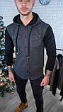 Мужская кофта на пуговицах с капюшоном серая/ 3 цвета в наличии, фото 5