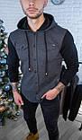 Мужская кофта на пуговицах с капюшоном серая/ 3 цвета в наличии, фото 7