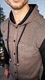 Мужская кофта на пуговицах с капюшоном серая/ 3 цвета в наличии, фото 8