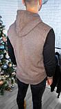 Мужская кофта на пуговицах с капюшоном серая/ 3 цвета в наличии, фото 9