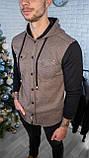 Мужская кофта на пуговицах с капюшоном серая/ 3 цвета в наличии, фото 10