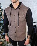 Мужская кофта на пуговицах с капюшоном черная/ 3 цвета в наличии, фото 4