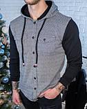 Мужская кофта на пуговицах с капюшоном черная/ 3 цвета в наличии, фото 8