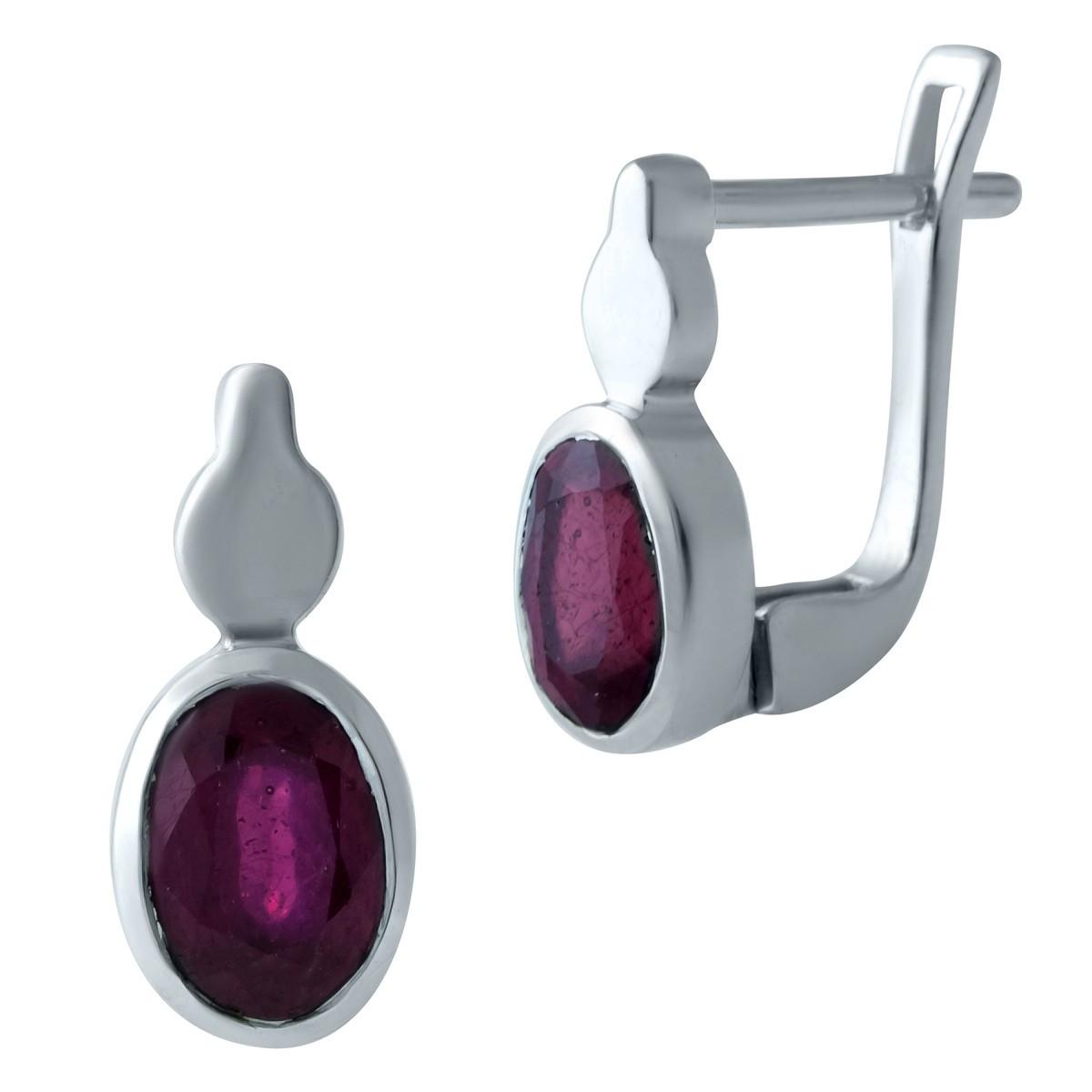 Серебряные серьги DreamJewelry с натуральным рубином (1931660)